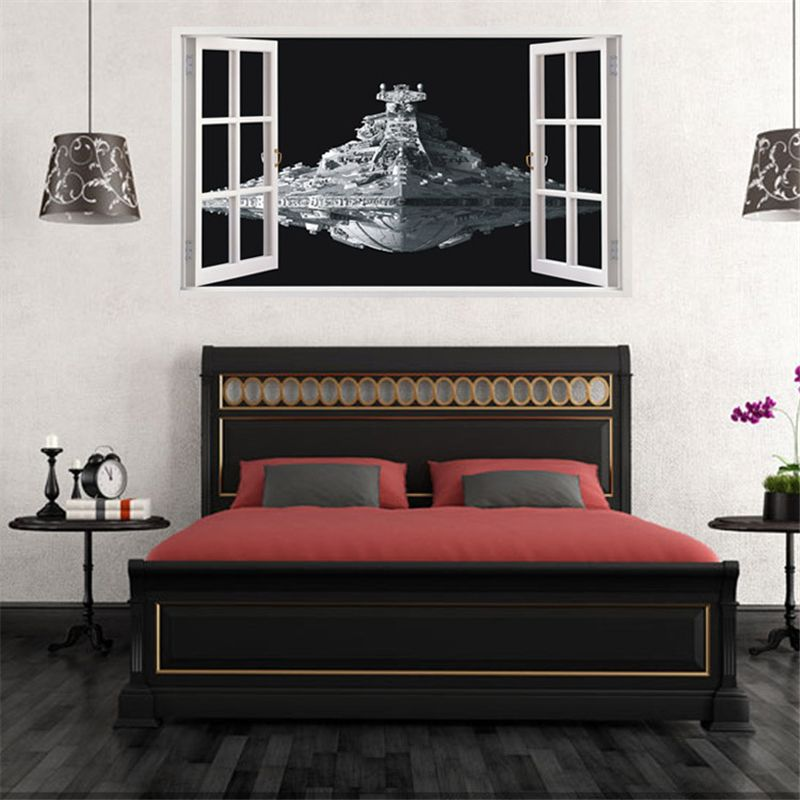 3d star wars spaceship wall sticker coming in decals home decoration vinyl stickers paper big living