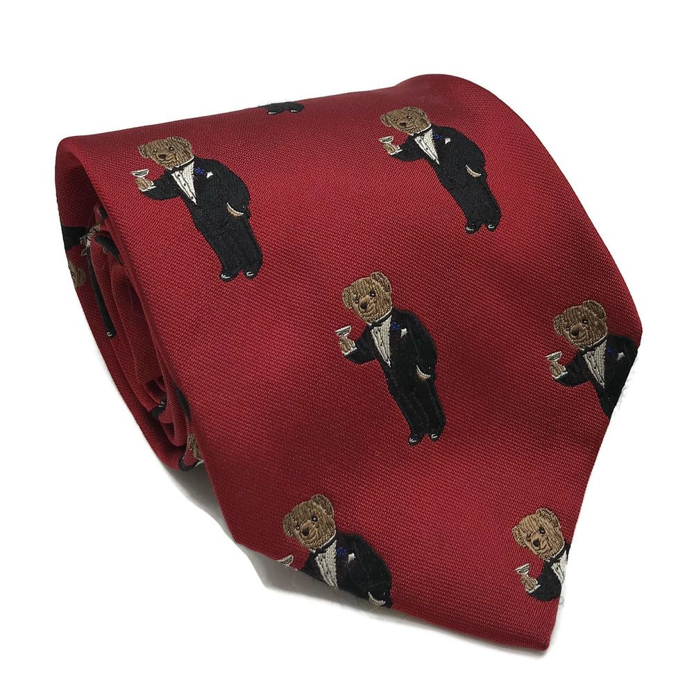 1e49a1300aeb Vintage Ralph Lauren Polo Bear Teddy Tuxedo Bear Men's Red Silk Neck Tie  USA #PoloRalphLauren #Tie