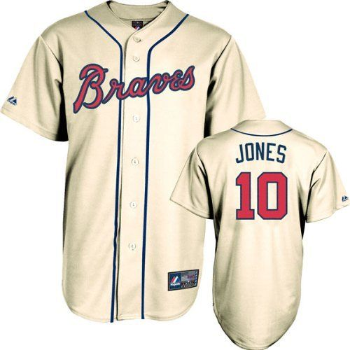 on sale 0dc6c 0a329 Chipper Jones Jersey: Adult Majestic Alternate Ivory Replica ...