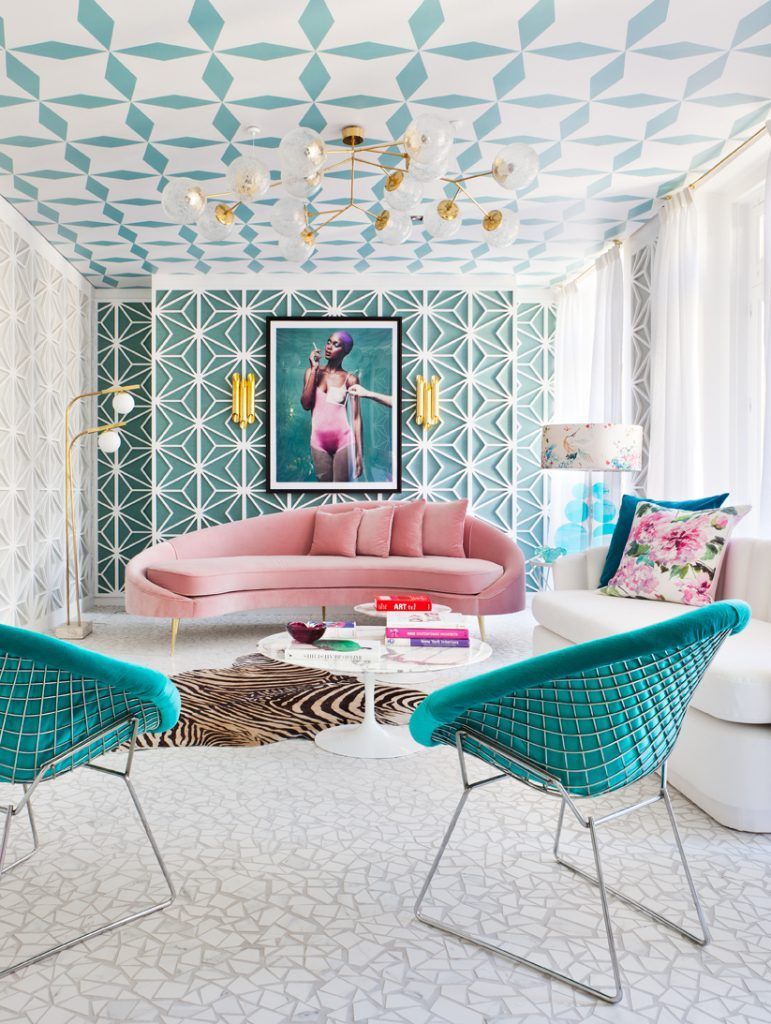 Bright And Bold Blue Pink Color Tone Living Room Home Decor Idea Printed C Ceilings Geometric Wall Decors
