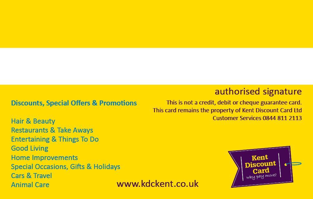 Kdc Membership Card Back  Panoramic Design  Kent Discount Card