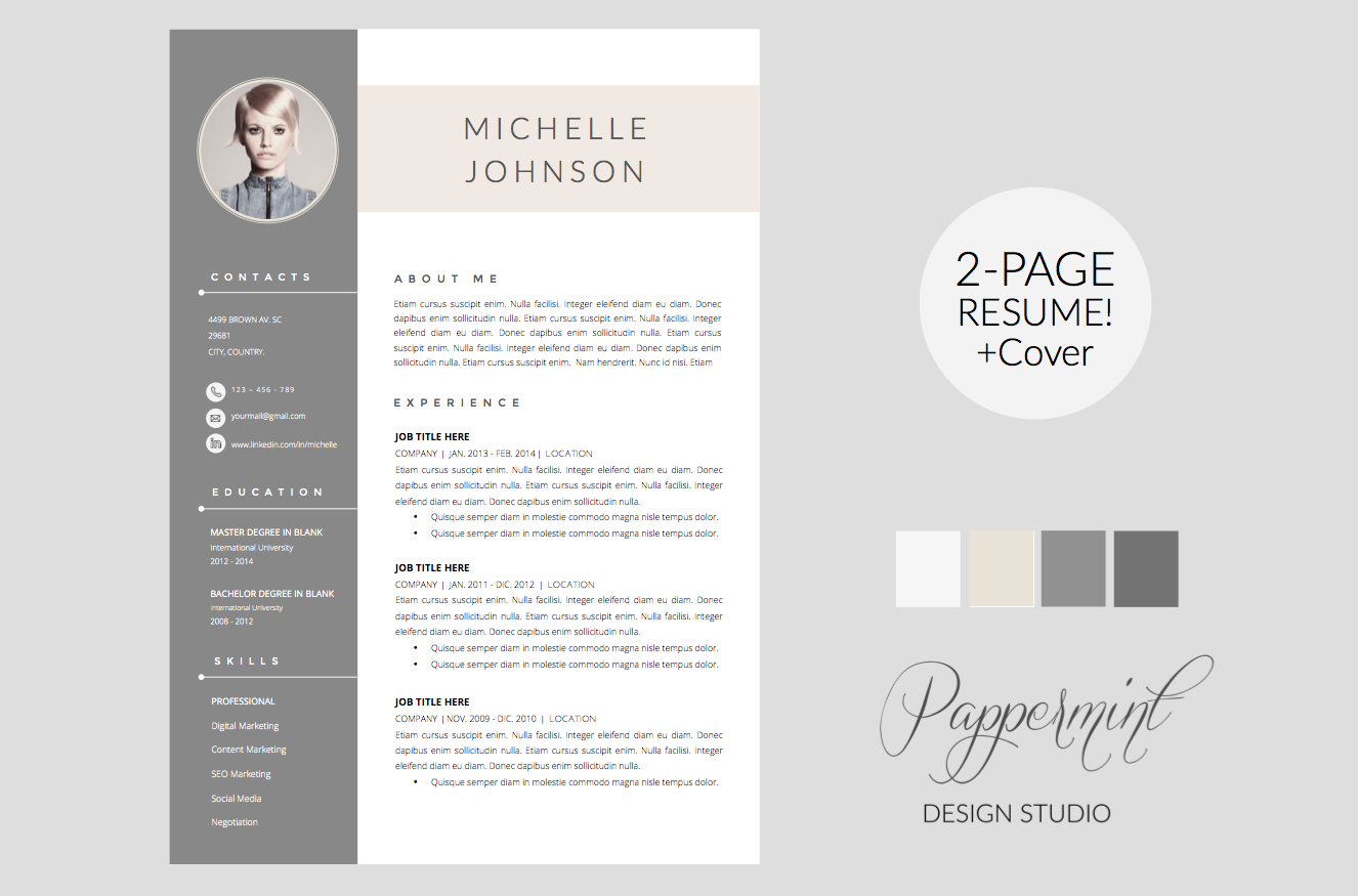 resume template   cover letter word by pappermint on creative market