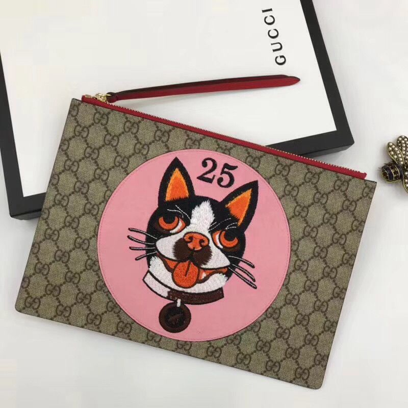 581278faeacb Gucci GG Supreme Pouch Bag With Bosco Patch 506280 Pink 2018 #guccipouchbag