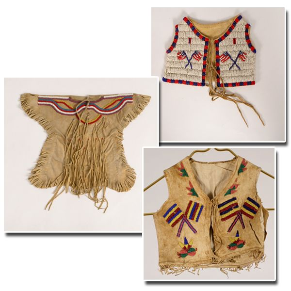 Three pieces native american plains indian beaded buckskin doll baby clothes including a dress
