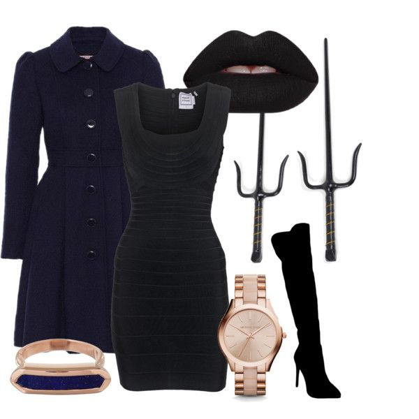 Hogwarts Secret Agent - Ravenclaw by briana-mason94 on Polyvore featuring Hervé Léger, Atmos&Here, Michael Kors, Monica Vinader, Lime Crime and Jamison #hogwarts #secret #agent #spy #ravenclaw #polyvore