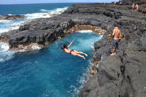 Cliff Diving, Queens Bath, Kauai, Hawaii