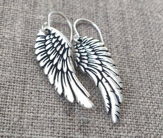 Silver Wing Earrings Vintage Style Plated Wings