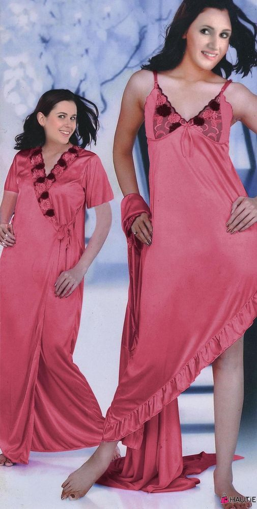LADIES DESIGNER LONG SATIN AND LACE DRESSING GOWN ROBE WOMENS NIGHTDRESS in  Clothes b678d2768