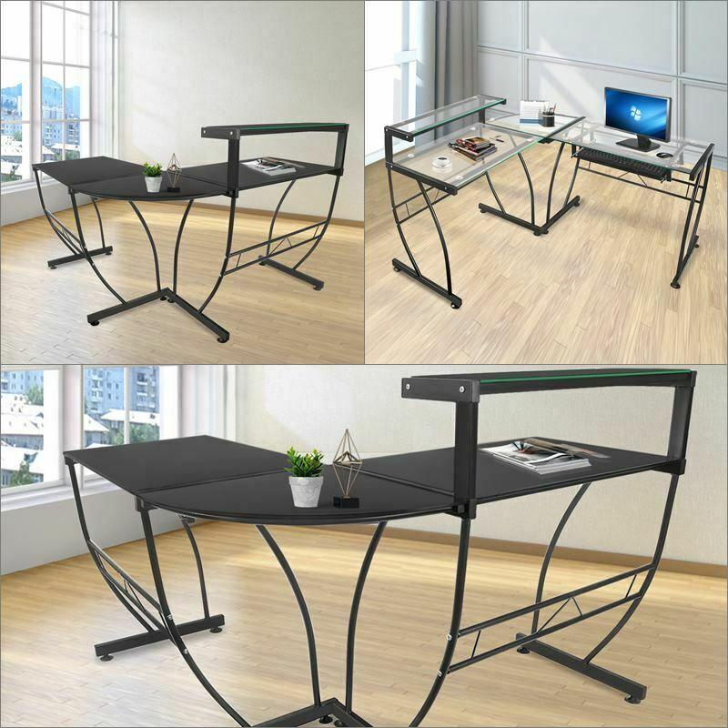 Office Deskorganization: L-Shaped Desk Corner Computer Glass Laptop Table