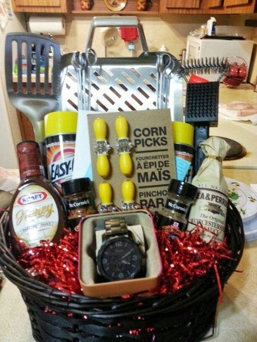 32 homemade gift basket ideas for men fathers day bbq gift basket diy whether it is fathers day birthday or just negle Images