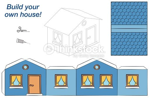 Fabulous Paper Model Of A Blue House Easy To Make Isolated Vector Download Free Architecture Designs Rallybritishbridgeorg
