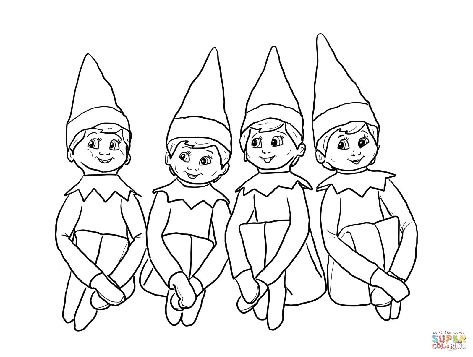 Elves on the Shelf coloring page | SuperColoring.com ...