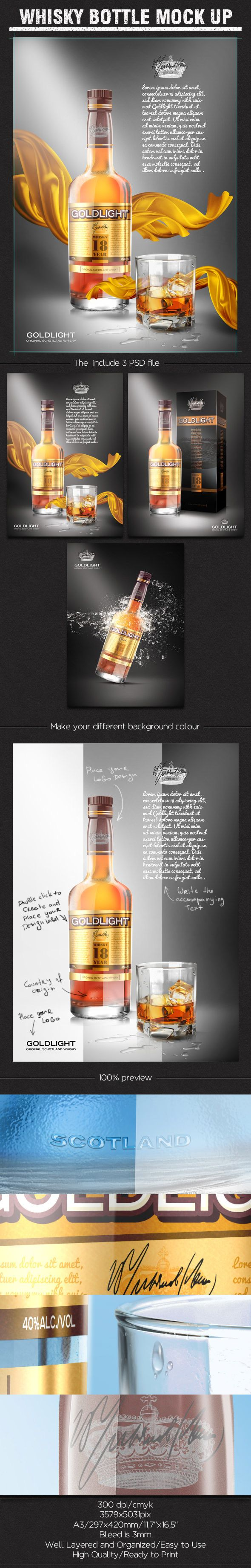 300 Dpi Cmyk3579x5031pixa3 297x420mm 11 7 X16 5 Bleed Is 3mmwell Layered And Organized Easy To Usehigh Quality Rea Bottle Mockup Whisky Bottle Packaging Mockup