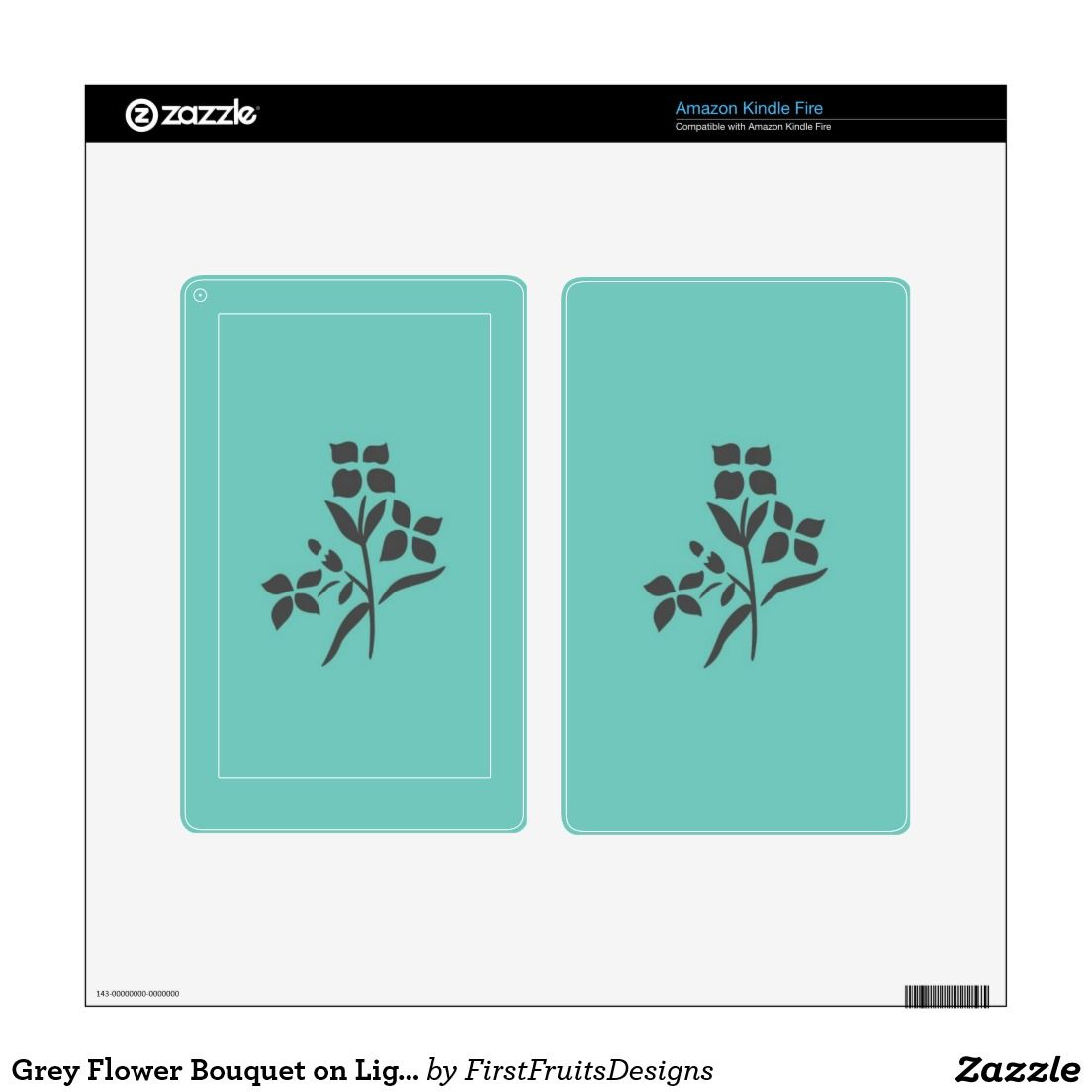 Grey Flower Bouquet on Light Teal Kindle Fire Decals