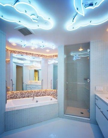 jonathan cutler bathroom. cloud neon fixtures. | neon room