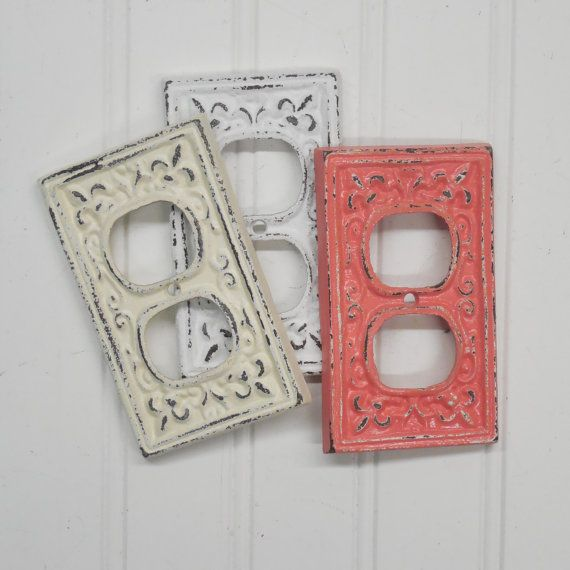 Distressed Cast Iron Double Plug Cover With An Ornate Fleur De Lis Design These Covers Will Add A Special To Shabby Chic Plates Decorative Cover Outlet Covers