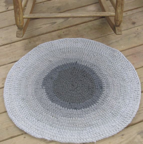 Shades Of Gray Upcycled Crochet Round TShirt Rug by LakeShoreHome, $40.00