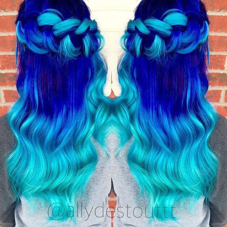 neon ultramarine rainbow hair ombre regenbogen. Black Bedroom Furniture Sets. Home Design Ideas