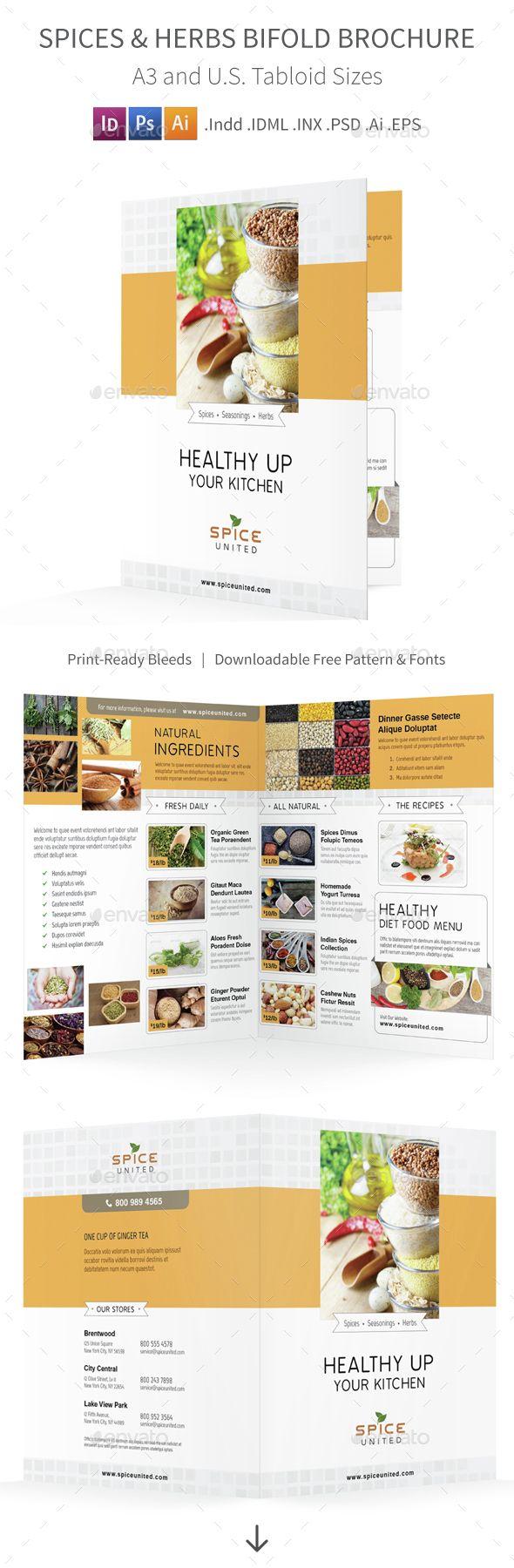 Spices & Herbs Bifold / Halffold Brochure   Brochures, Brochure ...