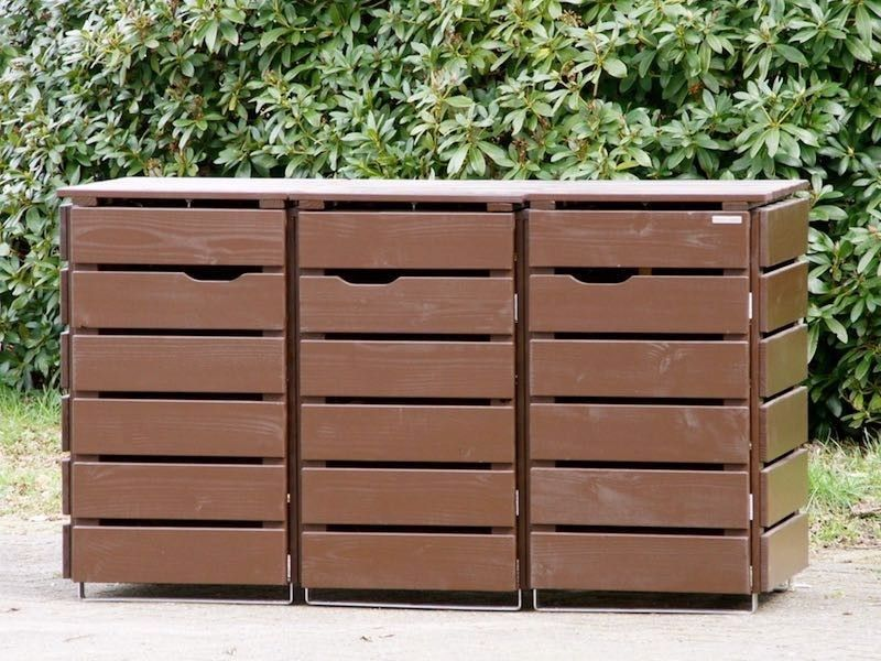 3er Mülltonnenbox Holz, Braun
