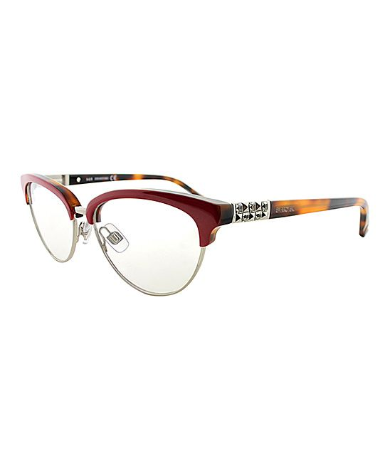 Red & Silver Browline Cat-Eye Eyeglasses | Products | Pinterest