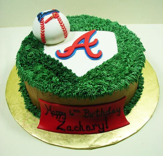 Baseball cakes JMC Custom Cakes Gallery Atlanta Braves Baseball