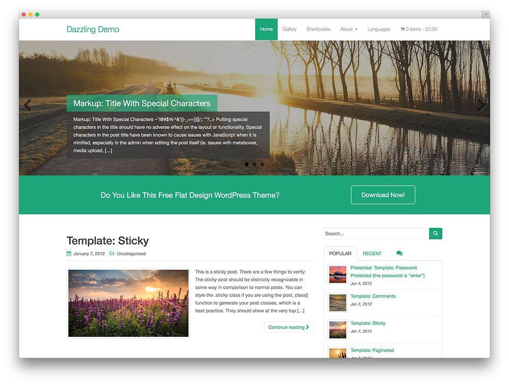dazzling flat design theme | Free Wordpress Theme | Pinterest | Flat ...