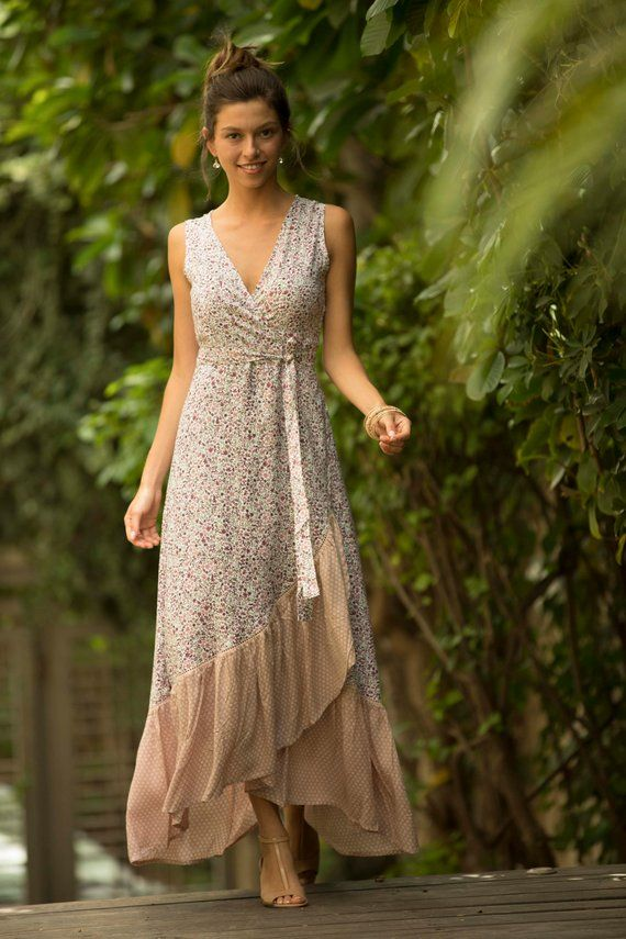 a922526f49 Blush Pink Wrap Summer Maxi Dress, Floral Romantic Spanish Pink Summer Dress,  Frill Bohemian Long Dr