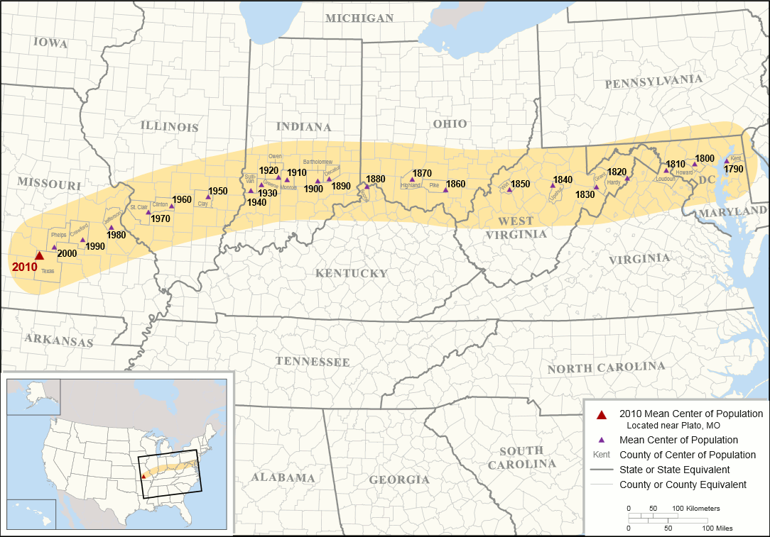 Map showing changes to the mean center of population for the