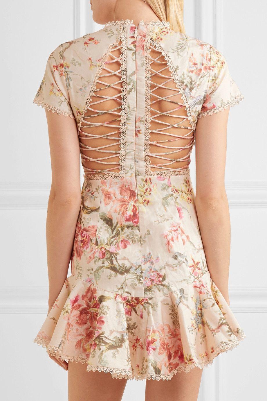 963a0a3b7a1e Zimmermann | Mercer lace-up floral-print linen and cotton-blend mini dress  | NET-A-PORTER.COM