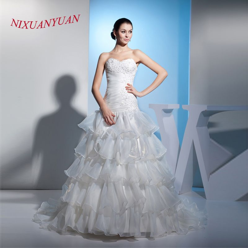 NIXUANYUAN 2017 New Wite Ivory Organza Wedding Gown Sweetheart ...