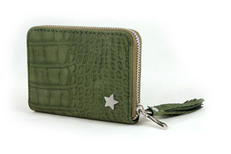 78b45ca6a09 Kleine portemonnee croco print en subtiele ster groen   Portemonnees ...