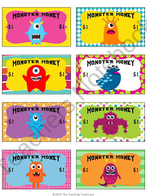 Monster money behavior bucks teachers notebook use with for Classroom bucks template