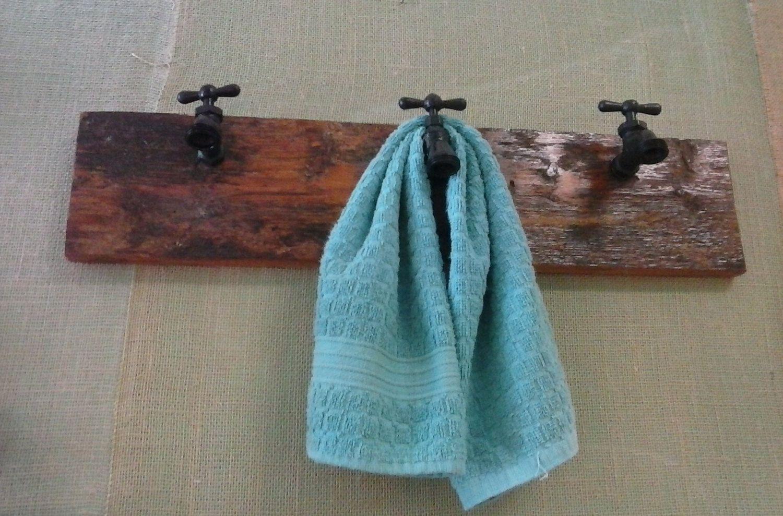 Faucets on Barn Board Hanging Kitchen Towel Bar. Hall Coat, Hat Rack ...