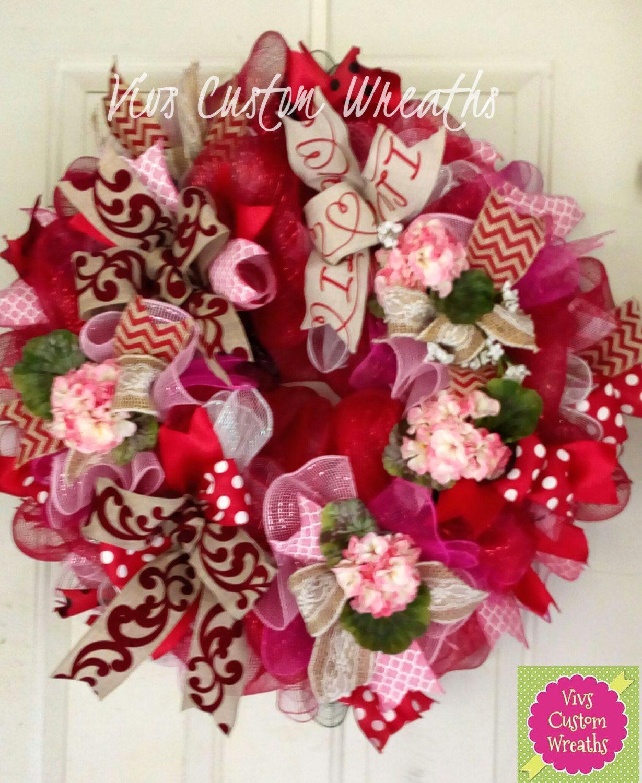 Valentine's Day Wreath, Valentine Deco Mesh Wreath, Spring Floral Wreath,  Elegant Valentine Wreath