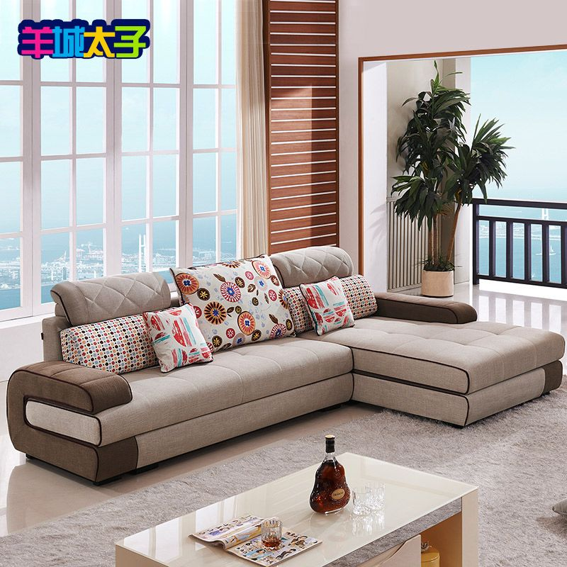 Fabric Sofa Combination Of Modern Minimalist Living Room L Type All Solid Wood Frame So Corner Sofa Design Minimalist Living Room Modern Minimalist Living Room