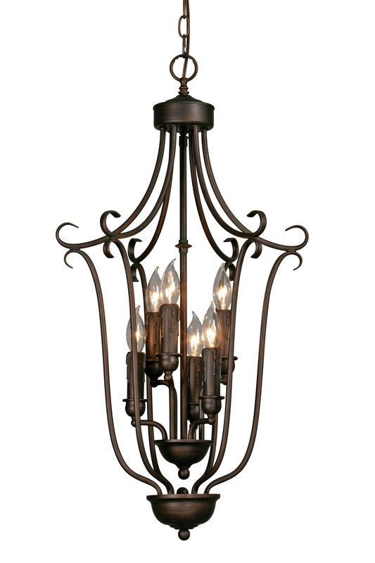 Golden Lighting 6426-6 Six Light Foyer Pendant Rubbed Bronze Indoor Lighting Pendants