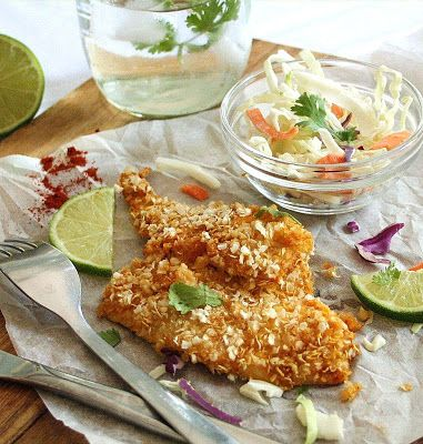 Inspired Edibles: Quinoa-Crusted Sole in a Chili-Lime Marinade (Oven Baked, Gluten Free)