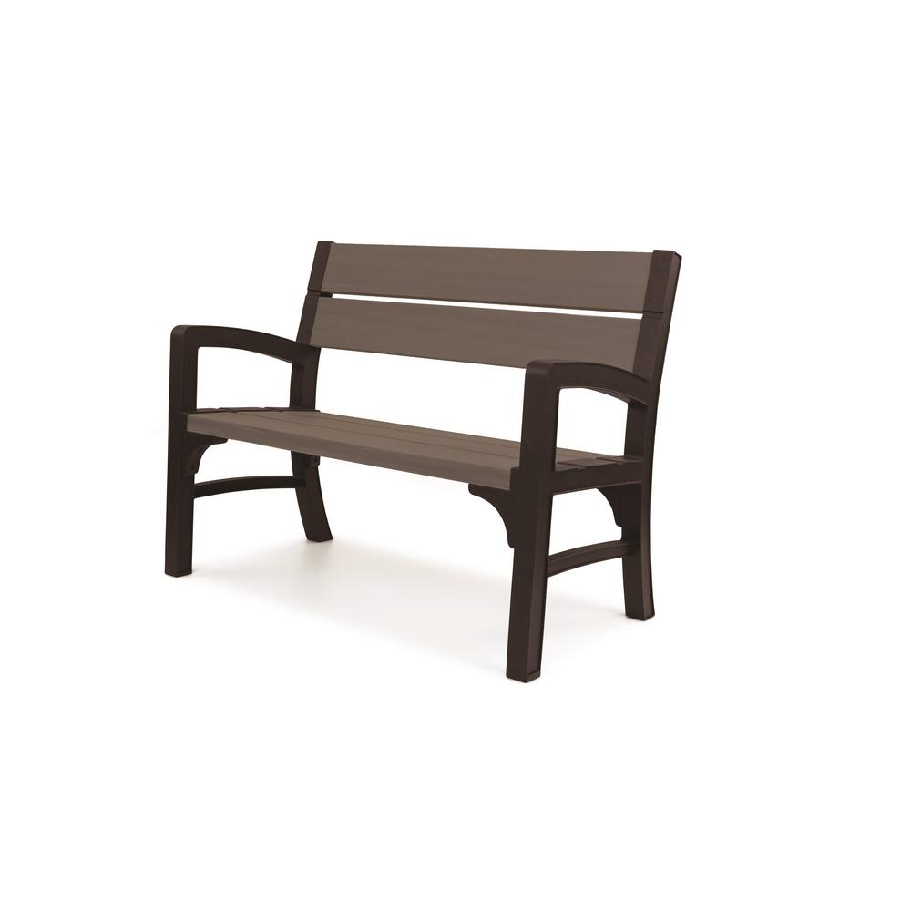 Keter Brushwood 47 In Resin Outdoor Garden Patio Bench 235212