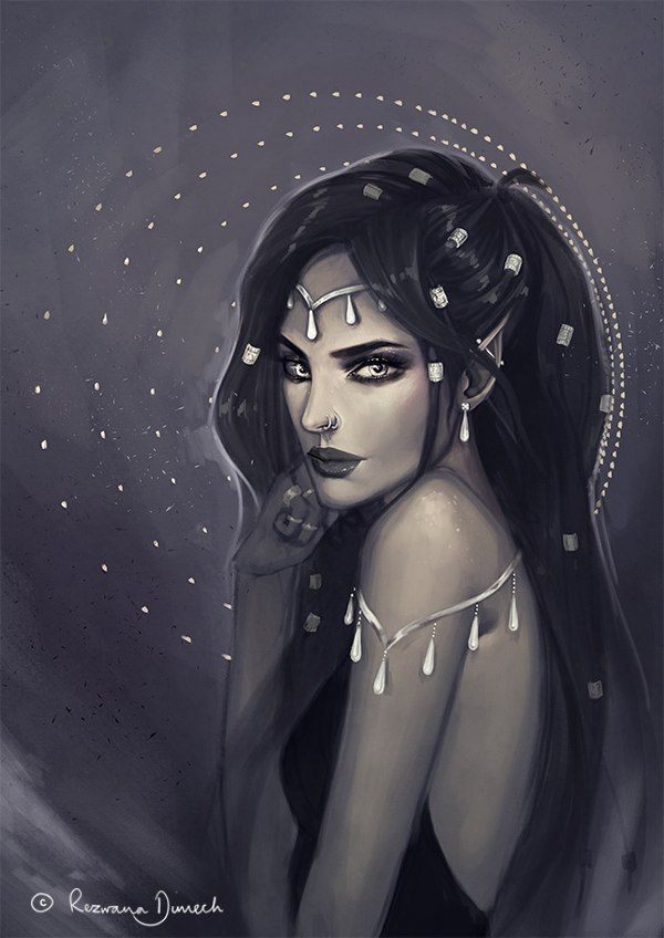 I love the teardrop adornments and hairstyle.