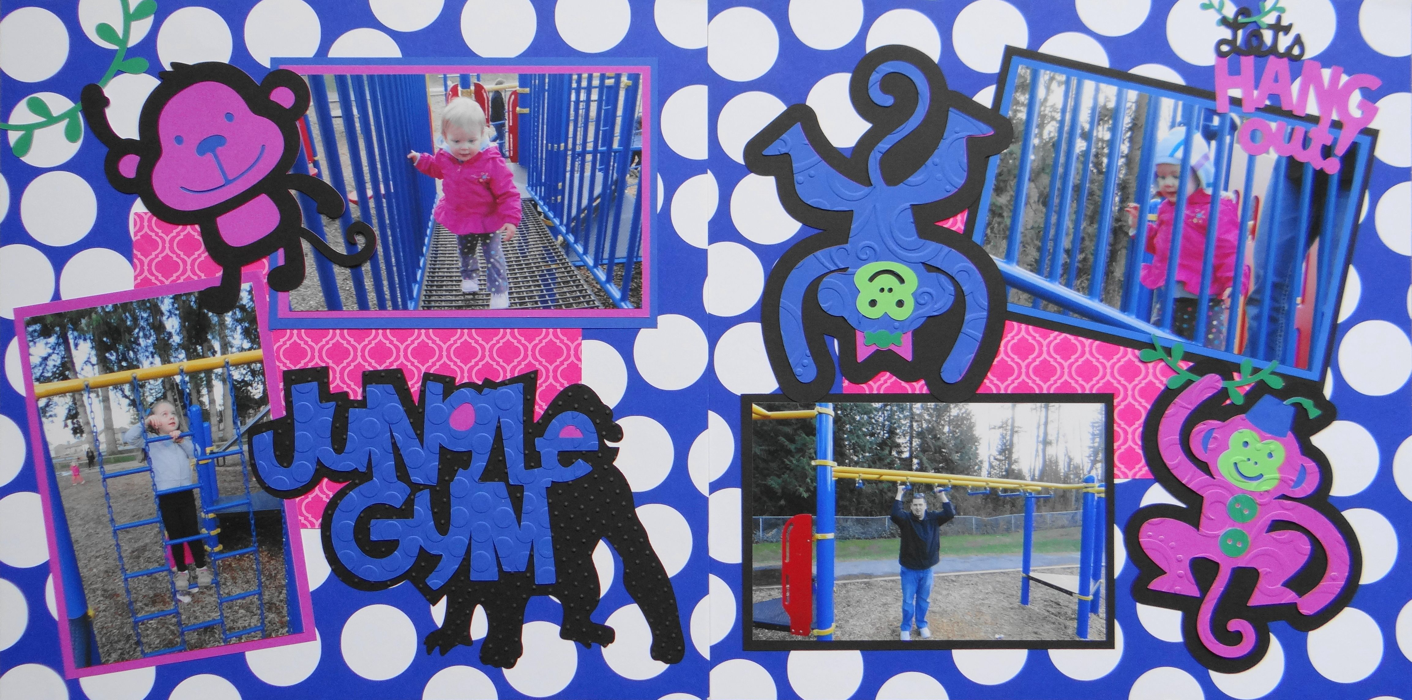 Jungle scrapbook ideas - Scrapbook Page Jungle Gym At The Park 2 Page Girl Or Boy Layout With