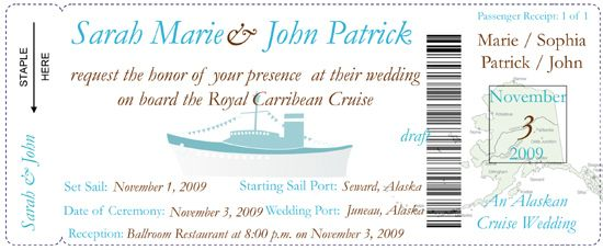 Cruise Wedding Invitation Wording Examples: Cruise Ship Wedding Invitations