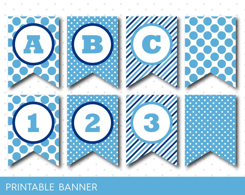 Blue Banner Party Banner Birthday Banner Baby Shower Banner Printable Banner Banner Letters