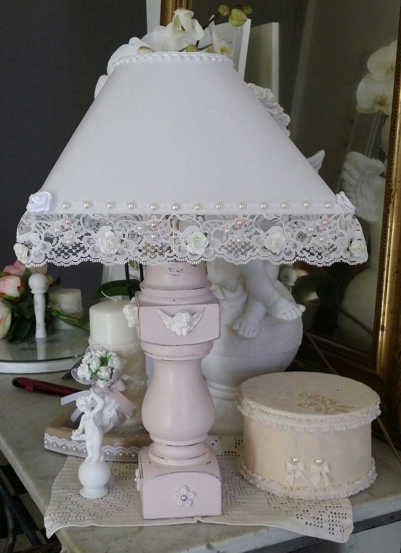 Lampe d\'appoint,patinée rose poudré Style Shabby chic : Luminaires ...