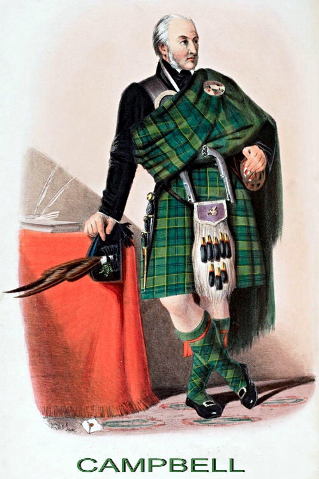 9x6 Print Genealogy Family Clan Campbell Scottish Tartan Kilt ...