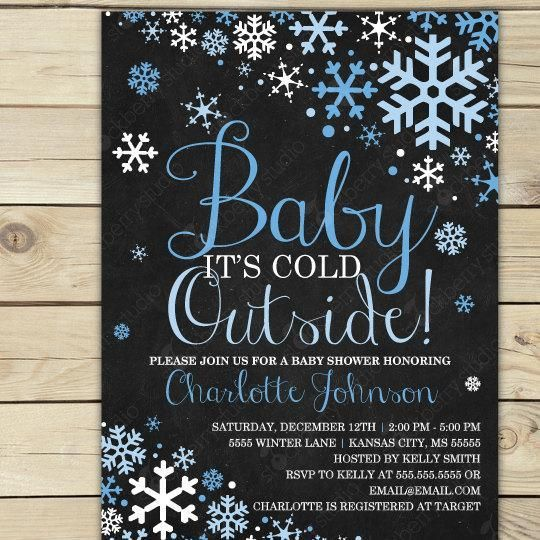boy baby its cold outside chalkboard baby shower invitation, Baby shower invitations