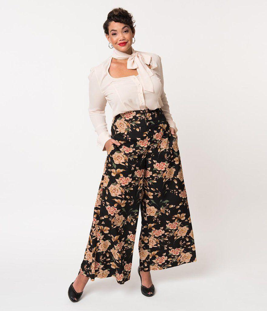 abcc4465285 Unique Vintage Plus Size 1940s Style Black   Cream Floral High Waist Rosie  Wide Leg Pants