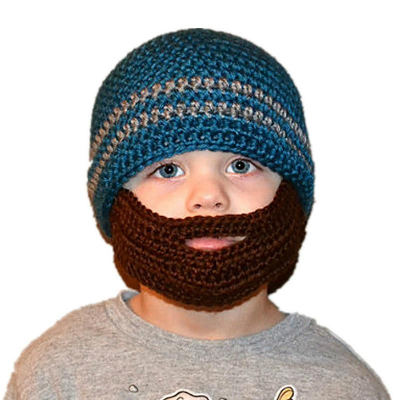 Kids Winter Hats Viking Pirate Hats with Beard Cosplay Crochet Beanie  Knitting Cap for Boys Girls b1d5eff2378