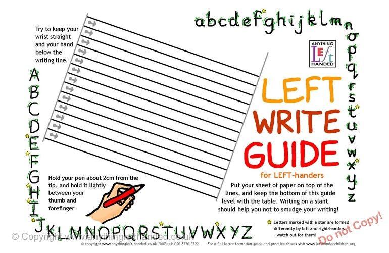 left write writing guide mat download back to school learning cursive left handed letter. Black Bedroom Furniture Sets. Home Design Ideas