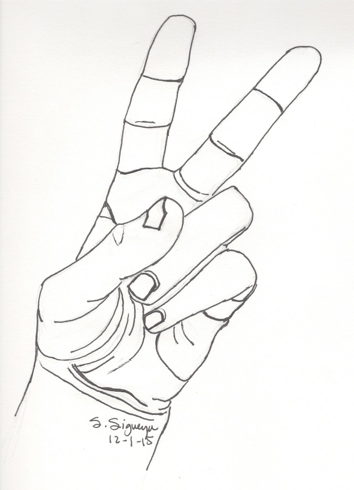 Weekly Mind Sketch Peace Sign Drawing Peace Sign Hand Hand Drawing Reference